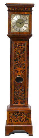 A William and Mary floral marquetry walnut tall case clock  Edward Upjohn, Topham  late 17th century