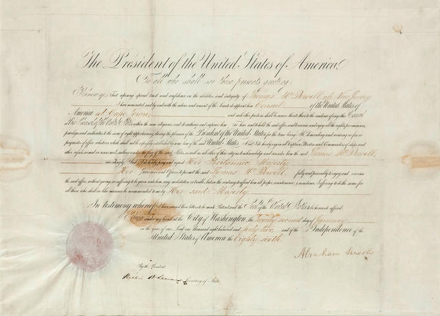 "LINCOLN, ABRAHAM. 1809-1865. Document Signed (""Abraham Lincoln"") as President,"