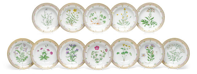 A set of twelve Royal Copenhagen porcelain Flora Danica soup bowls  date codes for 1936 and 1938