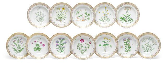 A set of twelve Royal Copenhagen porcelain Flora Danica soup bowls <BR />date codes for 1936 and 1938