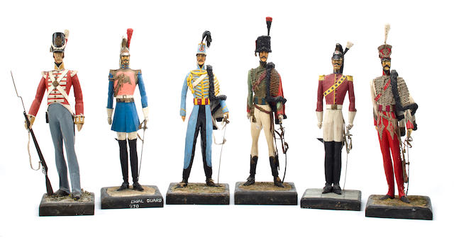 A group of six unidentified military figures