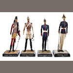 a group of four Prussian military figures