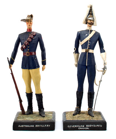 A pair of British colonial military figures for Australia and Canada 14-1/2 in. (36.8 cm.) height of the tallest. 2