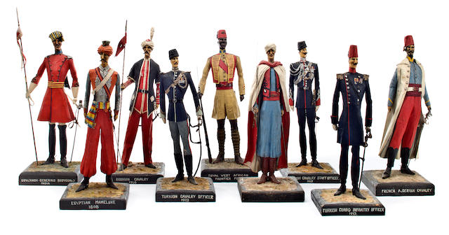 A group of nine North African and Eastern European military figures