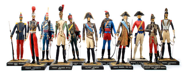 A group of eleven French military figures