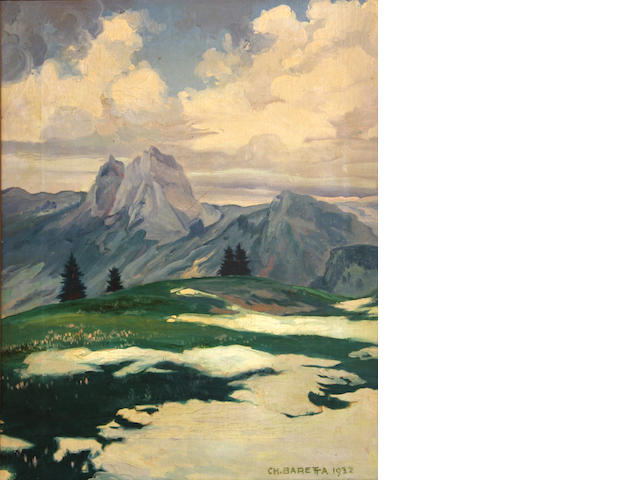 Artist Unknown, Mountain landscape with snow melting and flowers foreground, signed and dated l/l: CH. BARET...1932, o/c, 16 x 12in