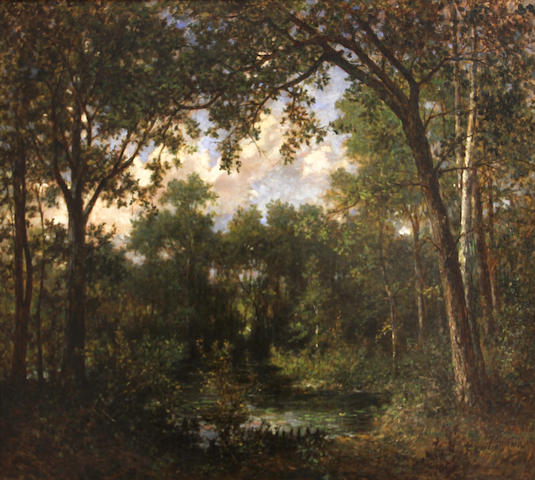 European School 19th C., Woodland scene, indistinctly signed l/r: A. Saum...(?), o/c (original), 26 x 32in