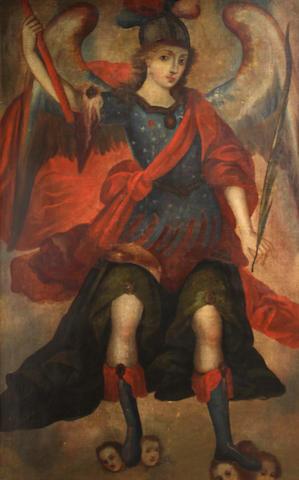 Spanish Colonial School 18th C., The Archangel St. Gabriel, o/c, 58 x 37in