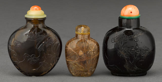 Three quartz snuff bottles