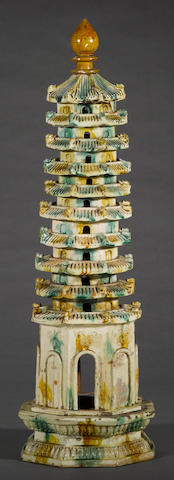 An archaistic sancai glazed pottery model of a pagoda20th century