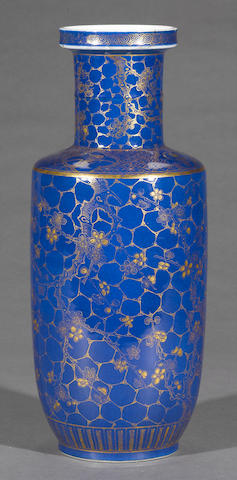 A powder blue and gilt decorated porcelain vase 19th century