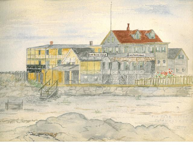 "MASSACHUSETTS—NANTASKET. Album of 31 original watercolors, several signed ""P.W. Noble,"" and 3 pencil drawings, [Nantasket, MA, 1893-1904], oblong cloth-bound album, 178 x 256 mm, image size varies."