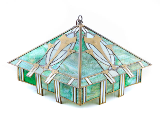 An Arts & Crafts leaded glass hanging fixture early 20th century