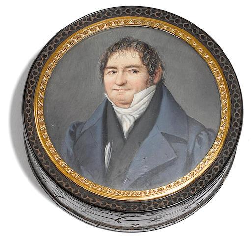 A George III cut steel inlaid tortoiseshell snuff box with portrait miniature