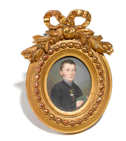 A Joseph Einsle portrait miniature of a gentleman in giltwood frame <BR />early 19th century
