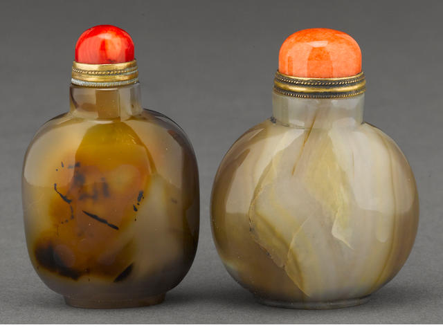 Two mottled agate snuff bottles