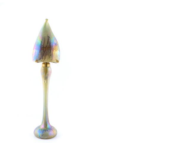 A Contemporary iridescent glass lamp
