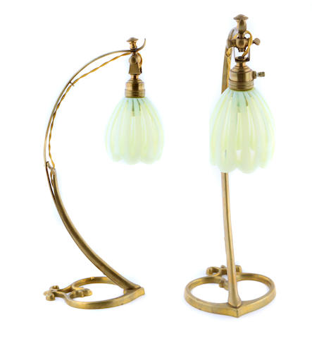 A pair of Continental brass and glass table lamps