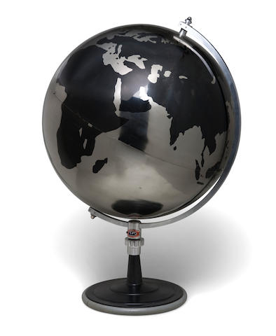 A large Denoyer Geppert enameled and chromed-metal globe  mid 20th Century