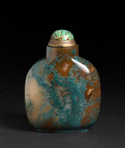 A moss agate snuff bottle  1820-1880