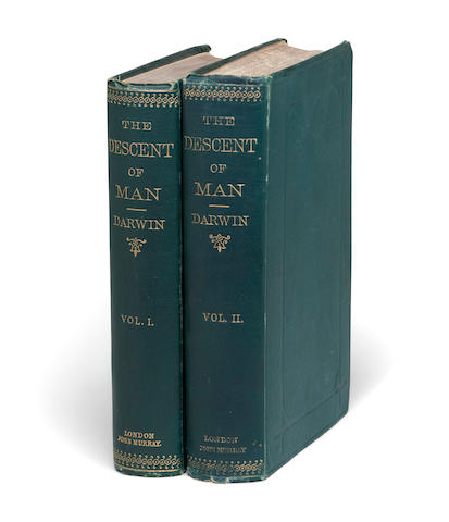 DARWIN, CHARLES. 1809-1882. The Descent of Man, and Selection in Relation to Sex. London: John Murray, 1871.