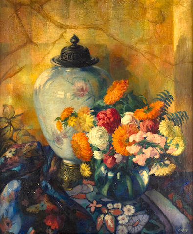 Frank Cohen Kirk (American 1889-1963) A Still Life with Summer Flowers
