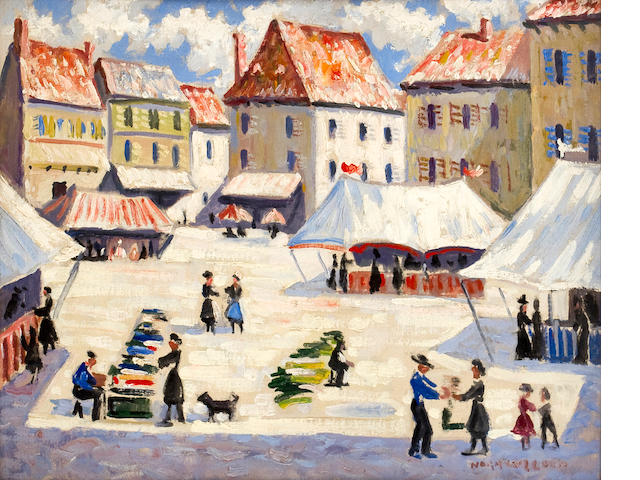 Norman Lloyd (Australian, 1897-1985) Market scene in the village square 13 x 26in (33 x 40.5cm)