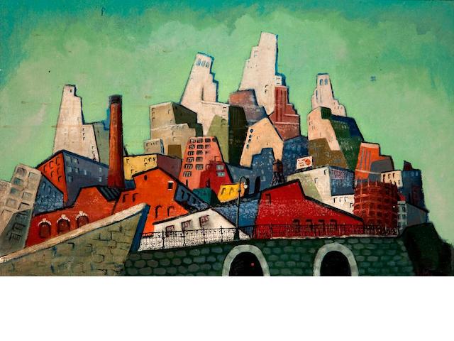 Joseph Manfredi (American, 1913-1996) Cityscape 20 x 32in (50.8 x 81.2cm)