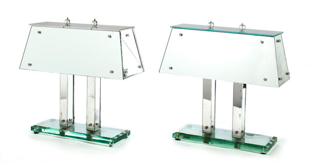 A pair of Art Deco style mirrored glass table lamps<BR />mid-20th century