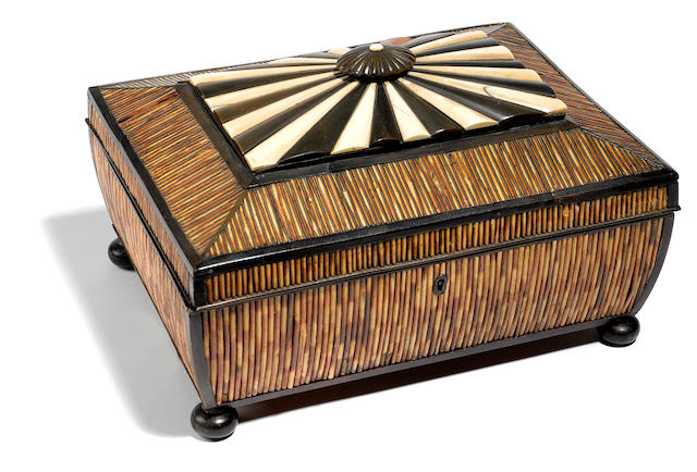 An Anglo Indian parcel ebonized ivory and quill work box