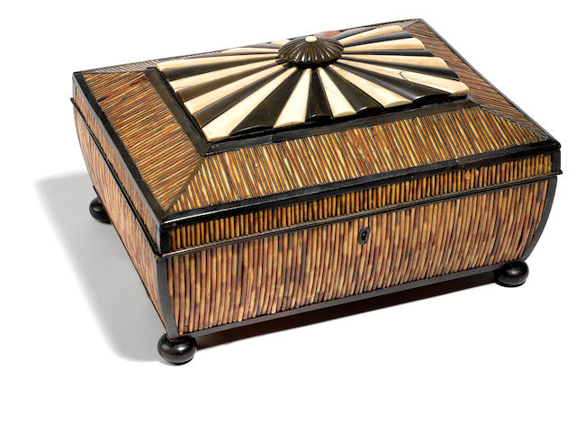 An Anglo Indian parcel ebonized ivory and quill work box <BR />mid 19th century