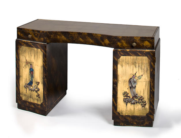 A Grosfeld House gilded and lacquered wood desk with Chinoiserie decoration 1940s