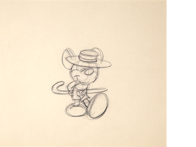A Walt  Disney rough drawing from Mickey's Surprise Party