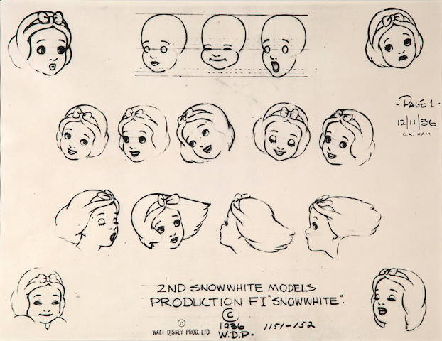 A Walt Disney Photostat of a model sheet from Snow White and the Seven Dwarfs