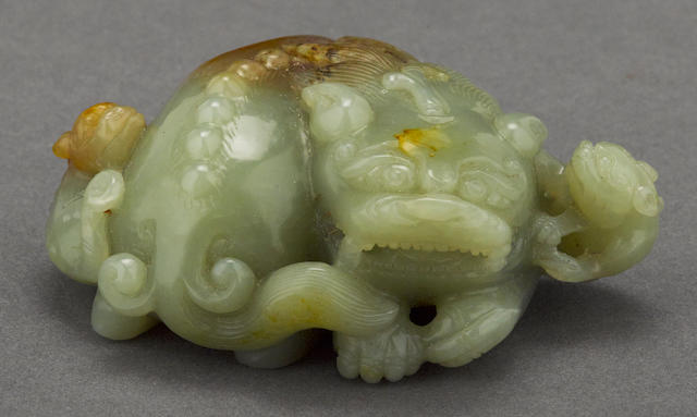 A jade carving of three mythical beasts
