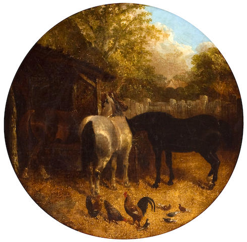 Attributed to John Frederick Herring, Jnr. (British, 1815-1907) Horses in a barnyard: A pair of paintings 16 1/8 x 16 1/8in (41 x 41in)
