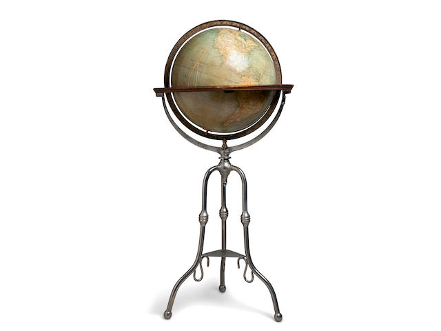 A 18-inch terrestrial library globe circa 1930. 52 in (130 cm) high, overall diameter 24 in (61 cm)