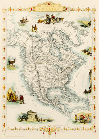 North American Map by Tallis, 19th Century