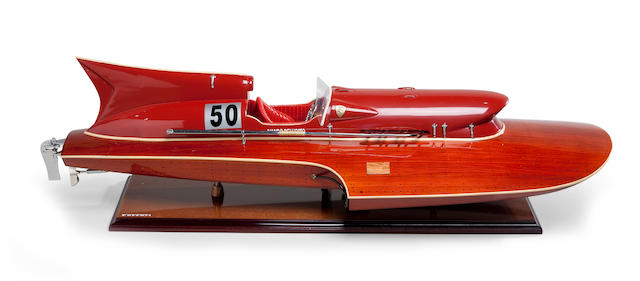 A model of the Ferrari Hydroplane, pennant No. 50<BR /> 20th century 32-1/2 x 13 x 9 in. (82.5 x 33 x 22.8 cm.) model on stand.