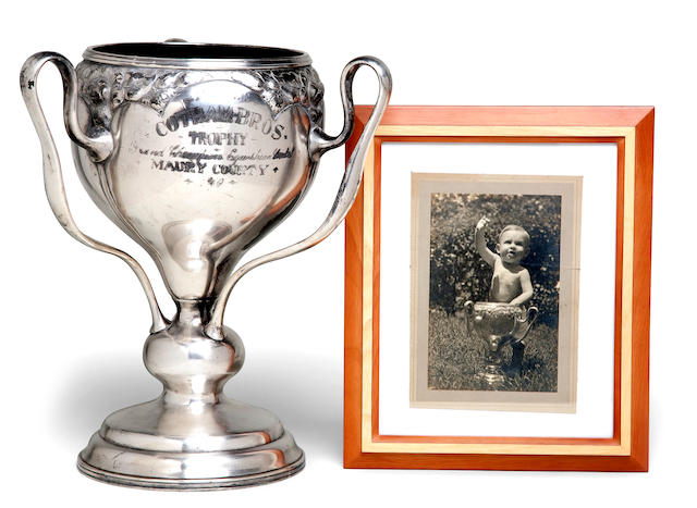 Horse Trophy Loving Cup and related photograph 13-3/4 x 13 in. (58.4 x 33 cm.) height x overall diameter. 2
