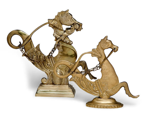 A pair of decorative Venetian gondola model seahorses  9-1/2 x 9-1/2 in. (24.1 x 24.1 cm.), the largest. 2