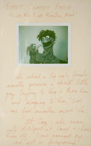 A collection of 9 sheets of Jim Henson character and story ideas for The Muppet Show
