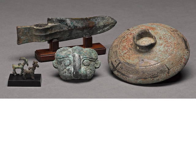 An assembled grouping of ancient bronzes