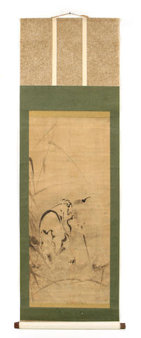 A Japanese ink painting of a sage
