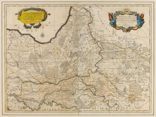 NETHERLANDS MAP SANSON D'ABBEVILLE, NICOLAS. 1600–1667. La Veluwe, La Betuwe, et le Comte de Zutphe dans le Duche de Gueldre. Paris: H. Jaillot, 1692.