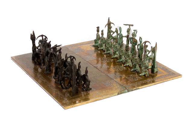 A patinated metal chess set 1960s