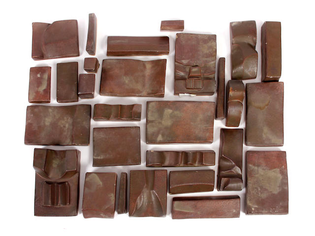 A group of approximately 27 Dora de Larios glazed earthenware tiles of varying sizes