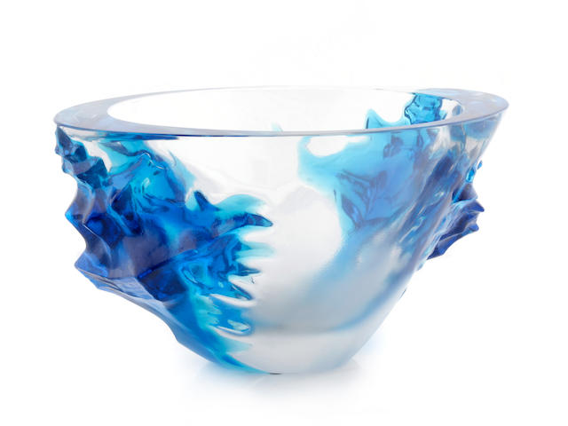 A Contemporary blue, clear and frosted glass conch shell bowl