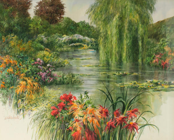 Gerald F. Brommer (American, born 1927) In Monet's Garden 30 x 40in