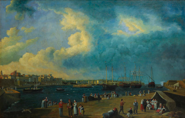 Italian School, late 20th Century A busy port scene with numerous figures on the quay 34 x 53in